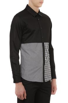 Cotton satin gingham detail shirt