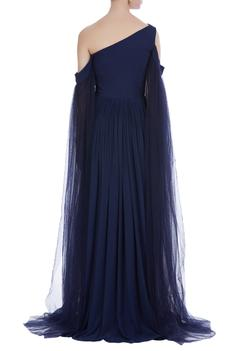 Cold shoulder sleeves gown