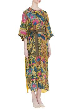 Silk Kalamkari Printed Shirt Dress