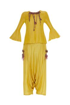 Blouse with draped pants and embroidered dupatta