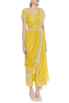 Hand embroidered pant saree with top and waistbelt