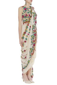 Embroidered blouse with drape skirt and dupatta