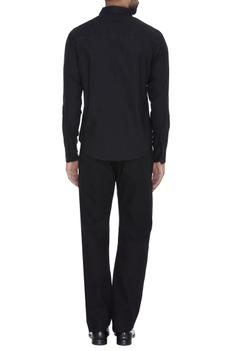 Black cotton shirt with stitch details at the yoke