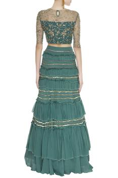 Ruffled zardozi embroidered lehenga set