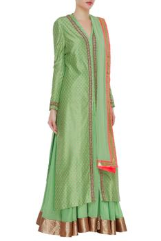Pure chanderi silk long jacket with skirt & dupatta