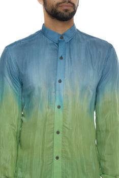 Ombre naturally dyed organic silk shirt