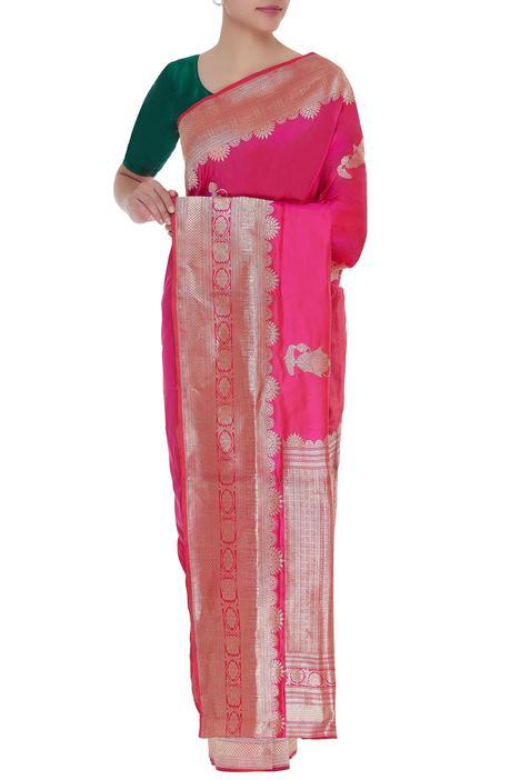 Perfume bottle woven motif mulberry silk saree