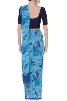 Chiffon digital printed saree with unstitched blouse