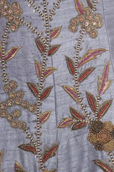 Embroidered blouse with belt, lehenga and dupatta
