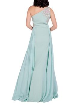 Embellished pleated draped gown