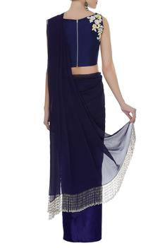 Fringe border saree with embroidered blouse
