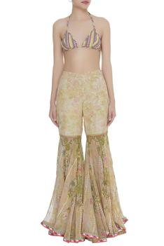 Printed sharara with sheer blouse and bustier