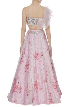 Rose Printed lehenga & Embroidered Ruffled Blouse with dupatta