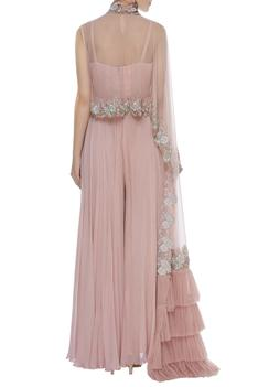 Jumpsuit With Asymmetric Embroidered Cape