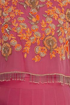 Embroidered attached cape gown