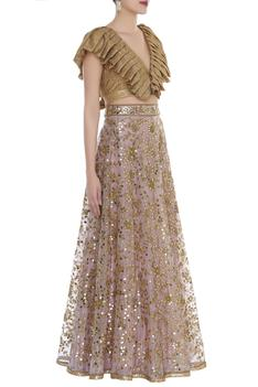 Mirror work lehenga with structured blouse
