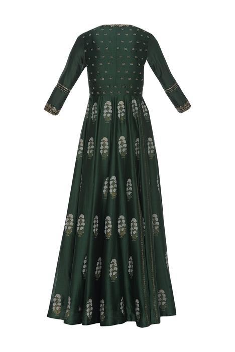 Embroidered long jacket kurta set