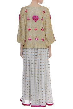 Embroidered Blouse with pleated skirt