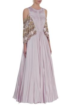 Bell sleeves zardozi embroidered gown