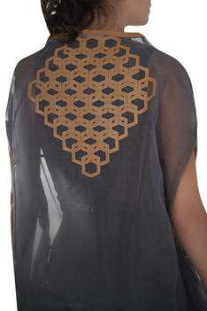 Leather detail long cape