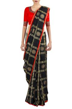 Chakra motif embroidered saree with blouse