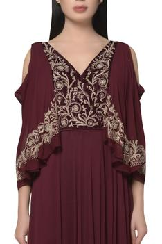 Cold shoulder Embroidered draped dress