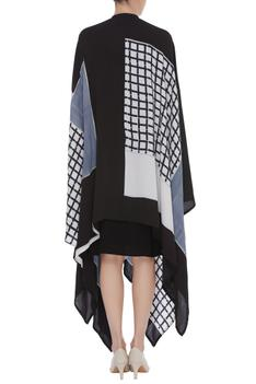 Block Printed Asymmetric Hem Jacket