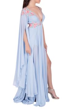 High Slit Embroidered Gown