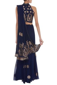 Applique work pre draped embroidered saree with blouse