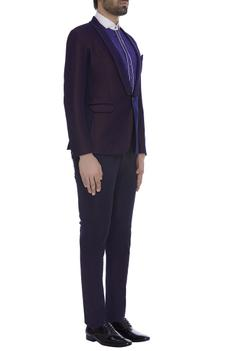Thread embroidered blazer jacket with trouser pants