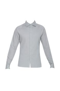Cotton shirt with wavy stitch details