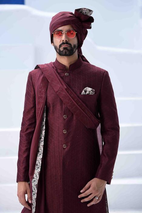 Chanderi Silk Embroidered Sherwani Set