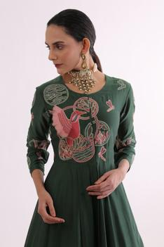Pure Chanderi Embroidered Gown