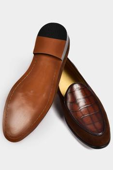 Suede Crocodile Loafers
