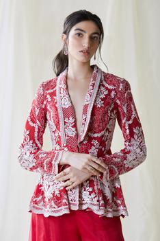 Embroidered Organza Jacket & Pant Set