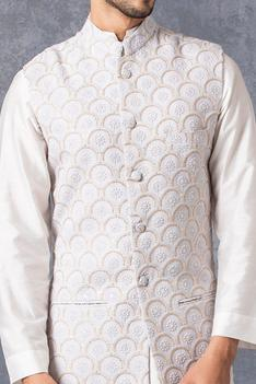 Lucknowi Embroidered Nehru Jacket