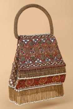 Silk Chain Fringe Handle Bag