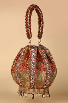 Embroidered Chain Fringe Potli Bag