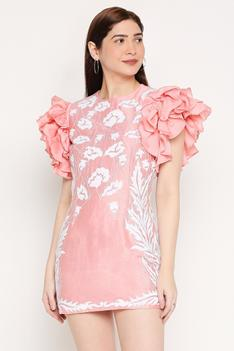Embroidered Dress with Ruffle Sleeves