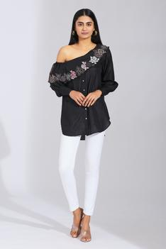 Silk Embroidered One Shoulder Shirt