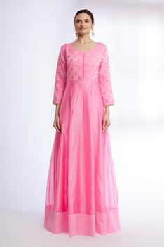 Chanderi Silk Embroidered Anarkali Set