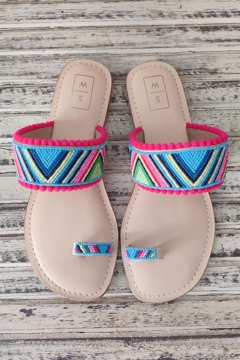 Bebo Beaded Strap Sandals