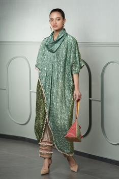 Embroidered Overlap Tunic & Pant Set