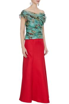 Red quilted mermaid maxi skirt with off-shoulder organza blouse