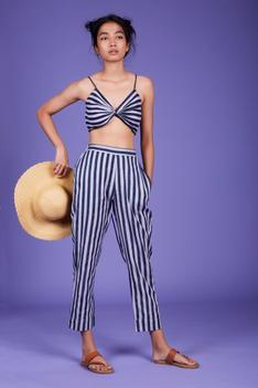 Cotton Striped Pant Set