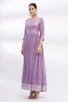 Linen Cotton Anarkali with Embroidered Dupatta