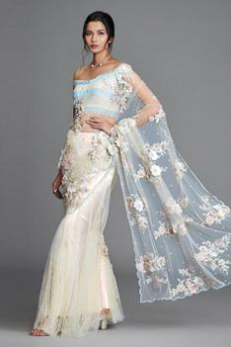 Silk Organza Embroidered Lehenga Saree with Blouse