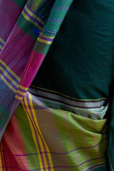 Cotton Silk Checkered Saree with Unstitched Blouse Fabric