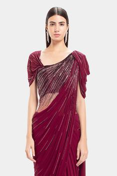 Pre-Draped Embroidered Saree Gown