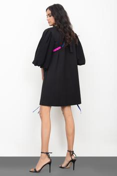 Shift Puff Sleeve Dress with Bag